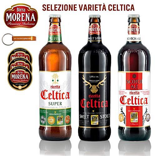 Birra Morena - Selezione Varietà Celtica - 3 Craft Beer 75cl (in regalo 1 portachiave + 3 sottobicchieri Morena)
