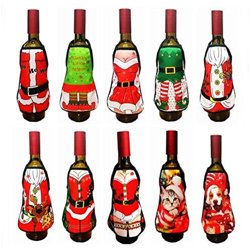 DEKA.O84 6 Piezas Creativo Mini Delantal de Navidad Cerveza Botella de Vino Bolsa de Cubierta, para Fiesta Familiar Cena Bar decoración de Mesa decoración Navidad