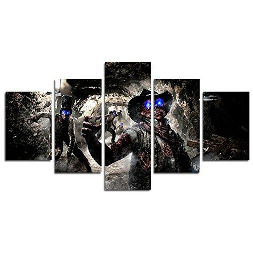 YspgArt66 Kunstdruck auf Leinwand, 5-teilig, Call of Duty Black Action 2 Zombies Wandschmuck für Heim Wohnzimmer Büro Moderne Deko Geschenk (ohne Rahmen)