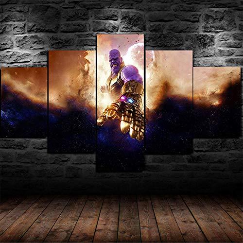 IMXBTQA Impresión En Lienzo 5 Piezas Cuadro sobre Lienzo,5 Piezas Cuadro En Lienzo,5 Piezas Lienzo Decorativo,5 Piezas Lienzo Pintura Mural,Regalo,Decoración Hogareña Vengador Endgame Película Thanos