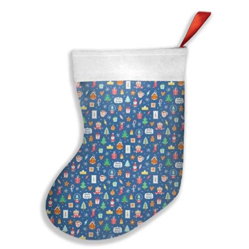 Art Fan-Design Winterferien-Symbole niedliches Weihnachts-Cartoon-Muster Weihnachtsstrumpf Kamin Baum Socke Geschenk Dekorationen für Weihnachten Party für Familie Urlaub Jahreszeit Party Rot
