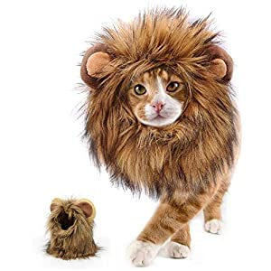 MXiiXM Cat Lion Mane Costume, Halloween Christmas Lion Mane Wig Hat with Ears- Fancy Costume Hair for Dog and Cat Costume Cosplay Party, Parties, Photo Shoots and Gifts