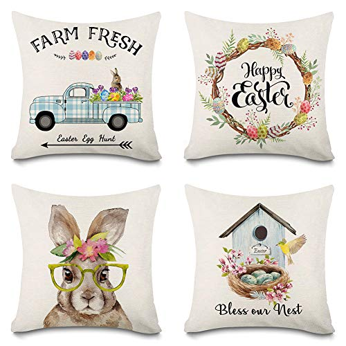 Faromily Easter Pillow Covers 18x18 Happy Easter Rabbits Eggs Bunny Buffalo Check Truck Spring Farmhouse Throw Pillow Cases Easter Decorations Cushion Case for Sofa Couch Cotton Linen Set of 4