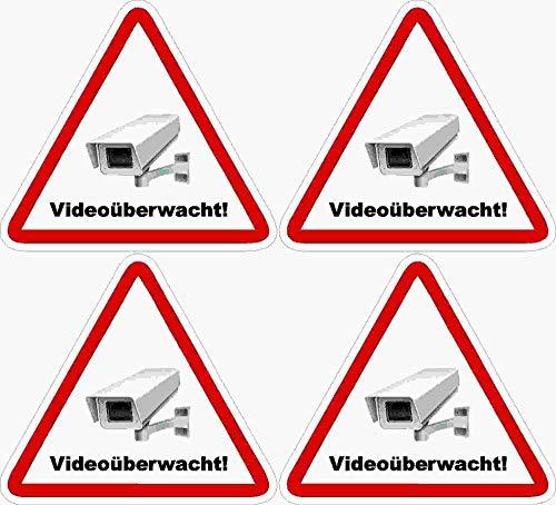 Kleberio® 4 selbstklebender PVC Aufkleber Warnschild 52 x 47 mm !! KLEIN !! - Videoüberwachung - Piktogramm Hinweis Aufkleber
