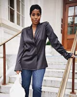 The Drop Camisa para Mujer, con Doble Botonadura, Negro, por @highlowluxxe,M