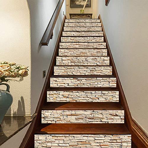 SQINAA Peel and Stick Escaleras Pegatinas Decorativas Autoadhesivas Arte Escalera Decoración Mural Calcomanía de Pared extraíble para Sala de Estar (7.08x39.3 Pulgadas),C
