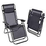 Oypla 2x Folding Reclining Garden Deck Chair Sun Lounger Zero Gravity