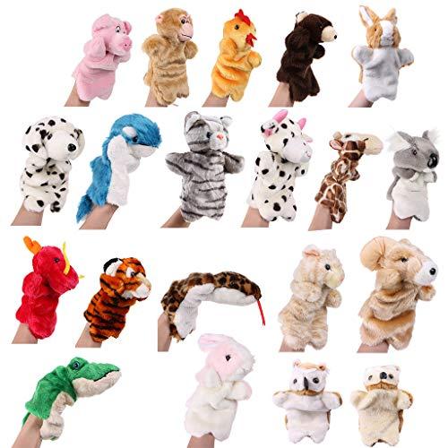CAFFAINA Marionetas de Mano de Animales de Peluche de Dibujos Animados, Herramienta de narración de Cuentos para bebés y niñas, muñeca para Manos, Juguetes educativos tempranos
