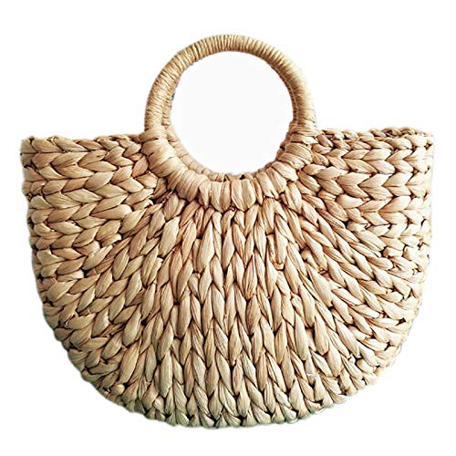 Gran oferta, bolso de cuero para mujer, coreano, extranjero, cáscara de maíz, semicírculo, arte, bolso de playa, accesorios de imagen de viaje, bolso de paja, bolso de luna