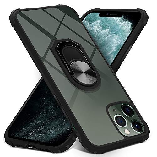 Dosnto Funda iPhone 11 Pro Max Antigolpes Dura Carcasa Transparente Silicona Protección con 360 Grados Anillo iman Soporte , Negro