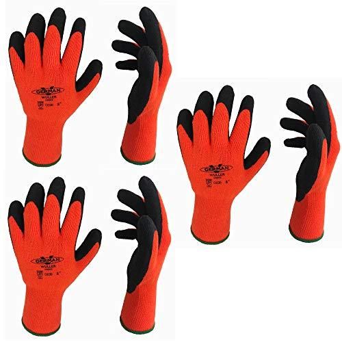 GermanV 3 Paar Warme Winter Arbeitshandschuhe Handschuh Set Cool mit Grip (S = 7)