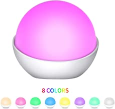 WIOR LED Night Light Silicone Cute Baby Night Light 8 Colors Portable Night Lights for Kids Touch Sensor Control, Dim Night Light USB Rechargeable, Table Bedside Lamp for Bedroom Toddlers, Kids, Babie
