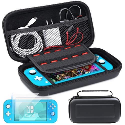 HEYSTOP Funda Compatible con Nintendo Switch Lite, Impermeable Carcasa Nintendo Switch Lite de Transporte (Negro + 2 Pcs 0.30mm Switch Lite Protector de Pantalla