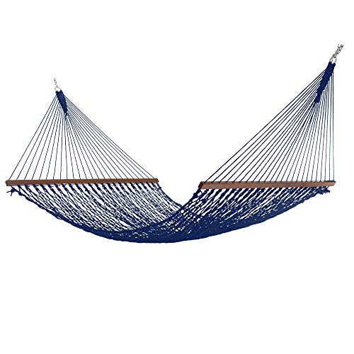 Hatteras Hammocks DC-14NVDeluxe Navy DuracordRope Hammock with Free Extension Chains & Tree Hooks, Handcrafted in The USA, Accommodates 2 People, 450 LB Weight Capacity, 13 ft. x 60 in.