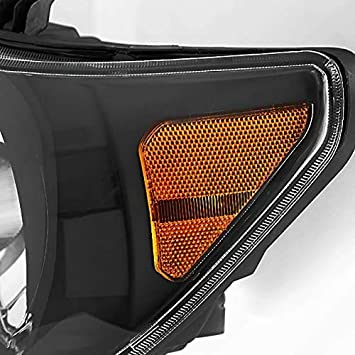SHAREWIN Replacement For Tundra 2007 2008 2009 2010 2011 Headlights Headlamp Assembly Black Housing Amber Reflector Replacement Passenger and Driver Side