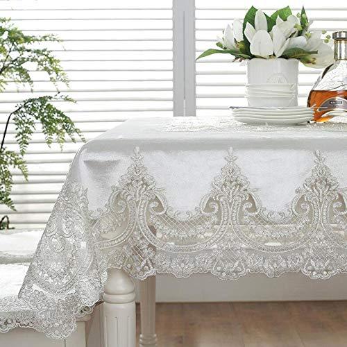 YQ QY Tischdecke Tischdecke Modern Europäischer Stil Antiquität Luxuriös Marke Stickerei Weiß Esstisch Haustextilien Elegant Spitze Tischdecke Wohnzimmer Festival Party QY Tischdecke