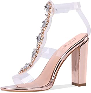 Women's Clear High Chunky Heels Gladiator Transparent Stiletto Ankle Strap Open Toe Sandals
