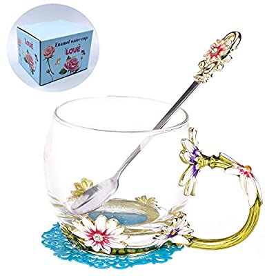 WRANKO Glass Tea Cups Set Enamelled Tea Mug with Enamel Spoon and Handle,Handmade Flower Daisy Decoration Porcelain Lead-Free Teacups,Coffee Drinking Mugs Festival Gift Ideas,11oz