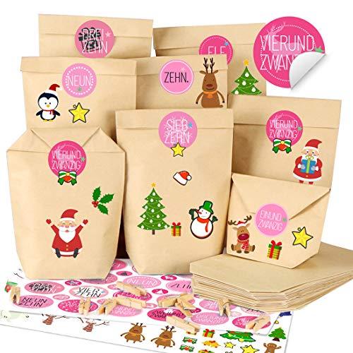 Adventskalender zum Befüllen Rosa, Adventskalender Selber Basteln, 25 Adventskalender Tüten mit Zahlenaufklebern und Klammern, Weihnachtskalender DIY Bastelset zum Gestalten für Kinder Mädchen