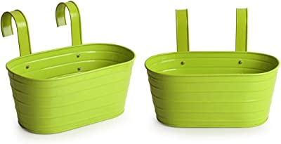 ExclusiveLane 'Grass Green' Garden and Balcony Decorative Metal Hanging Railing and Table Flower Planter Pot (Set of 2)