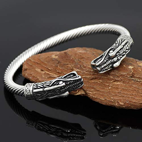 NICEWL Viking Double Dragon Head Bracelet Brazalete Torcido, Nórdico Pagano Vintage Animal Amulet Wristband, Edad Media Guerrero Gótico Estilo Punk