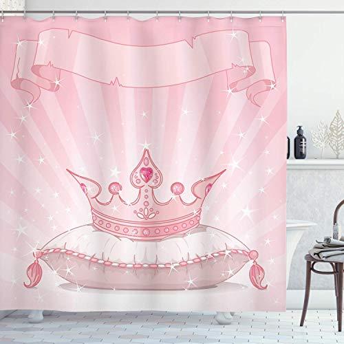 MMPTn Prinzessin Duschvorhang, königliche rosa Krone auf dem Kissen, lebendige Farbe handgemaltes Bild der Alten Geschichte, Stoff Badezimmerdekoration mit Hakenset, 70 cm lang, pink