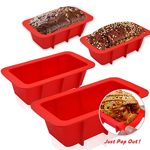 WALFOS Mini Loaf Pan Set  NONSTICKFLEXIBLE Silicone Bread Loaf Pan  JUST POPS OUT  Food Grade amp BPA Free 4 Pieces