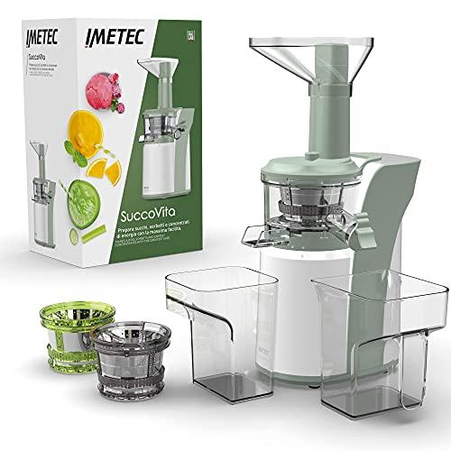 Imetec SuccoVita, estrattore di succo a freddo facile da usare, estratti di frutta e verdura, sorbetti e latte vegetale, 50 giri/min, imbocco ampio, funzione reverse