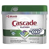 Cascade Platinum Dishwasher Pods, ActionPacs + Oxi, Dishwasher...