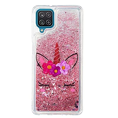 Everainy Funda Compatible para Samsung Galaxy A12 Silicona 3D Glitter Liquida Motivo Transparente Brillante Dibujos Carcasa Bling Goma Antigolpes Bumper Case Cover (Unicornio)