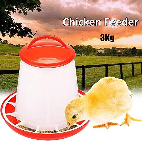 Patos Aves Alimentador 3 Kg De Pollo Codornices, Máquina De Alimentación Granja Avícola Alimentador Herramienta Automática De Polluelos/Pollos/Patos Plástico Portable Automática del Cucharón