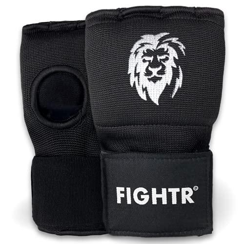 FIGHTR® Premium Boxe Bandes - enfilage Rapide et Haute stabilité | Gants en Gel pour la Boxe, Le MMA, Le Muay Thai et Les Arts Martiaux | avec Bande Longue (Noir, L).