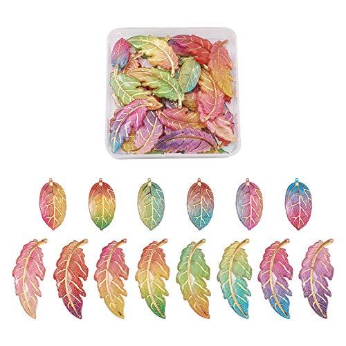 PandaHall 56 piezas de colores de los encantos de la hoja colgante de resina de acrílico colorido grande formas de hoja para el collar, pendiente de la pulsera, agujero: 1,2 mm