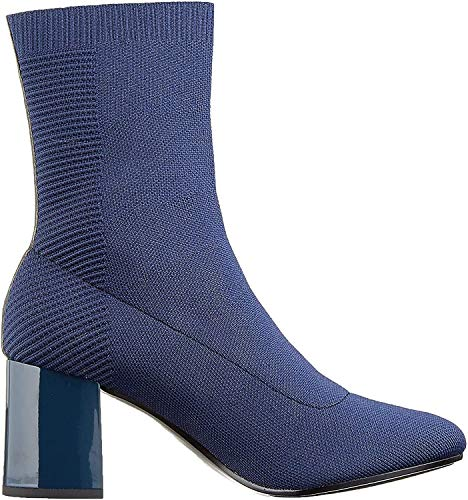 Tommy Hilfiger Damen Knitted Heeled Boot Stiefeletten, Blau (Midnight 403), 39 EU