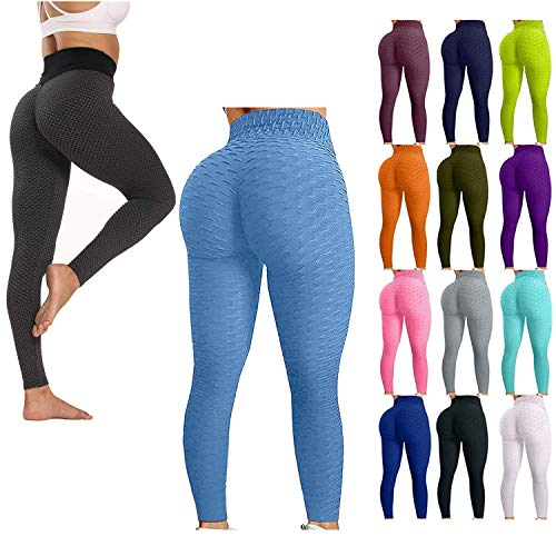Yibaision Ruched Workout Leggings for Women Bubble Hip Lifting Tummy Control Fitness Sports Yoga Sweatpants