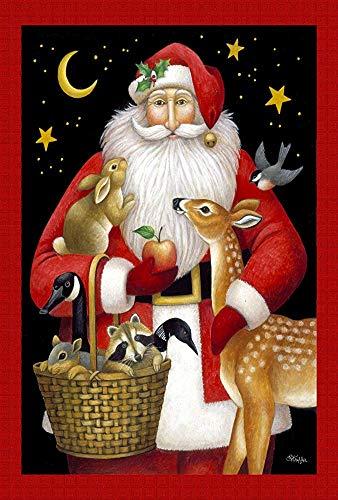 Santa'S Friends 30 X 45 Cm Decoratieve Kleurrijke Winter Vakantie Kerst Dier Herten Vogel Tuin Vlag - 119695, Rood/Wit/Zwart