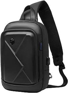 Arctic Hunter Zaino Monospalla Uomo Marsupio Tracolla Nero, Impermeabile Sling Bag con Porta USB di Ricarica