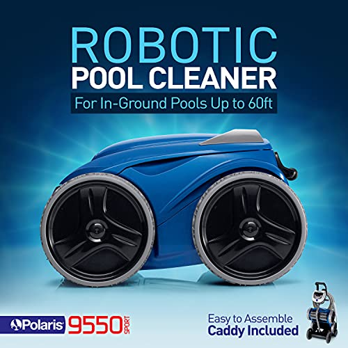 Polaris 9550 Sport Robotic Pool Cleaner, Automatic Vacuum for InGround Pools up to 60ft, 70ft Swivel Cable, Remote Control, Wall Climbing Vac w/ Strong Suction & Easy Access Debris Canister
