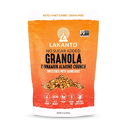 Lakanto Healthy Quick Breakfast Granola, Cinnamon Almond Crunch Cereal with Monk Fruit, Keto Snack, Sugar Free, Vegan, Gluten Free & Grain Free (11 Ounce)