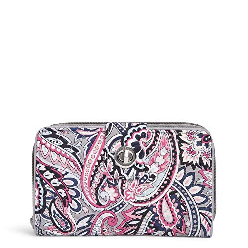 Vera Bradley Signature Cotton Turnlock Wallet with RFID Protection, Gramercy Paisley