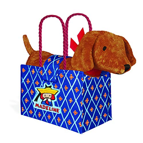 YOTTOY Madeline Collection | Genevieve The Dog Soft Stuffed Animal Plush Toy in Madeline Tote Bag