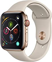 AppleWatch Series4 (GPS+Cellular, 44mm) - Gold Stainless Steel Case with Stone Sport Band (Renewed)