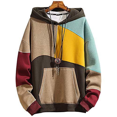 XIAOYAO Hoodie Herren Basic Kapuzenpullover Sweatjacke Pullover Sweatshirt (Khaki, 5XL (Gewicht: 85-95 kg))