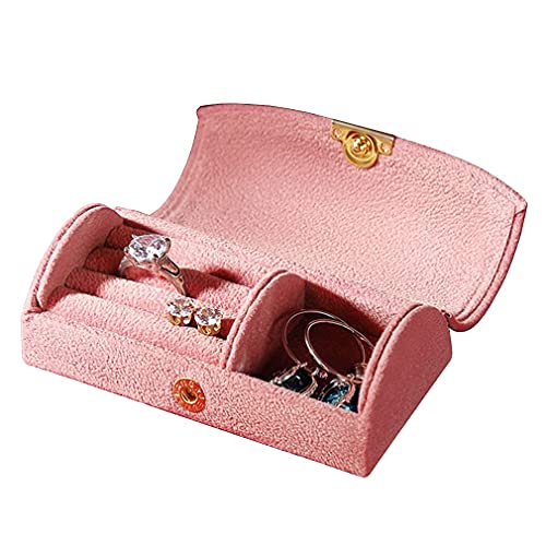 QIXIAOCYB Pequeña Caja de joyería, Organizador de Viajes Caja de Almacenamiento de Pantalla portátil para Anillos Pendientes Collar, Regalos para niñas Mujeres Cajas de joyería (Color : Bean Paste)