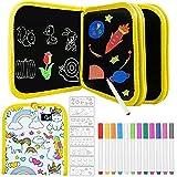 Blocco da disegno portatile cancellabile, 14 Pagine Libro Lavagna per Bambini Colorare, lavagna da disegno per Bambini, Libro di Pittura Graffiti Riutilizzabile,con 12 Penne Colorate (unicorno)
