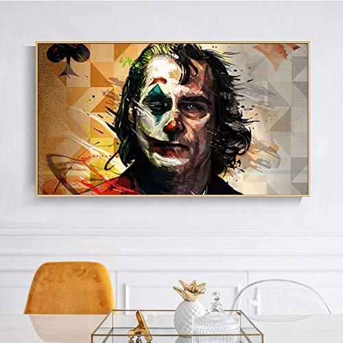 BailongXiao Filmporträt Clownplakat und Wandkunst Leinwand auf Clown Wohnzimmer Dekoration,Rahmenlose Malerei,60x108cm