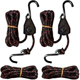 Seamander 1/4' x10ft Kayak Rope Hanger Tie Down Straps Canoe Ratchet Straps with Storage Bag (210 ft Ratchet tie Down Rope+ 210 ft Rope)