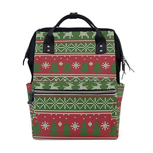 Rugzak Kerstmis Breien Rendier Boom Rood Groen Patroon Grote Capaciteit Tas Reizen Daypack