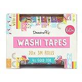 Dovecraft Washi - Caja de cinta adhesiva (20 diseos, 10 mm de ancho, 3 m, incluye caja de almacenamiento para manualidades, papelera, diario, decoracin del hogar, papel, multicolor, talla nica