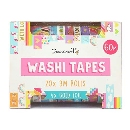 Dovecraft Washi Tape Box-20 disegni-luminose-10 mm di larghezza - 3 m - Include scatola portaoggetti per artigianato, cancelleria, diario, decorazione per la casa, carta, multicolore, taglia unica